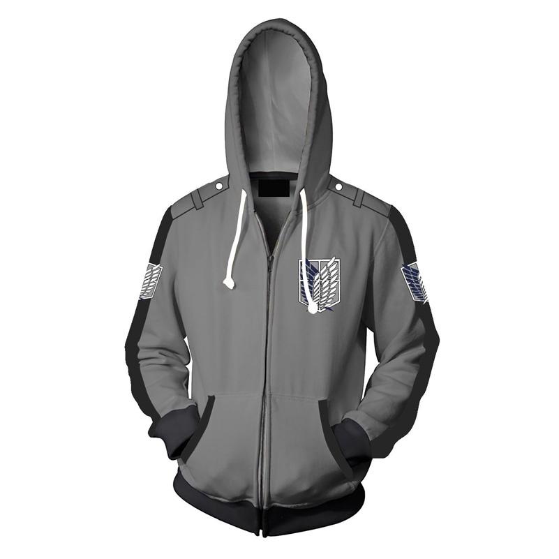 da80ef27a Cosplay Anime Attack on Titan AOT Survey Corps 3D Zipped Hoodies Coat  Sweatshirt