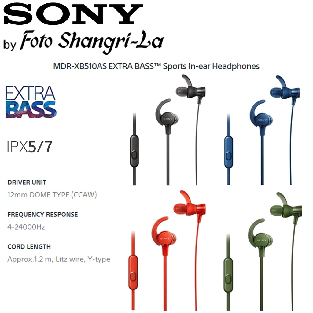 94887444d65 SONY MDR-XB510AS Sports ExtraBass SPLASH-PROOF In-Ear Headphones | Shopee  Malaysia