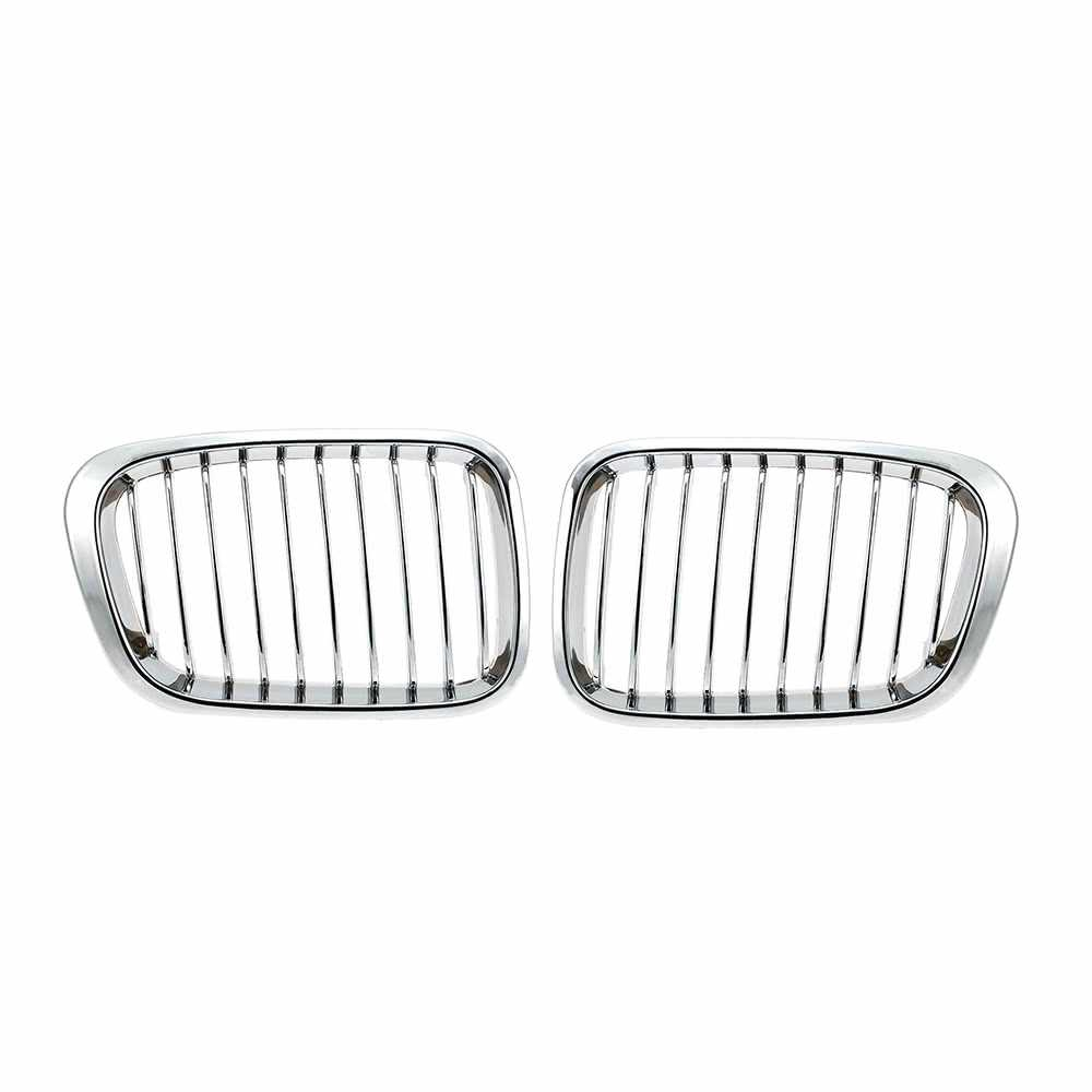 One Pair Plated Chrome Silver Front Grille Grilles for BMW E46 4 Door 98