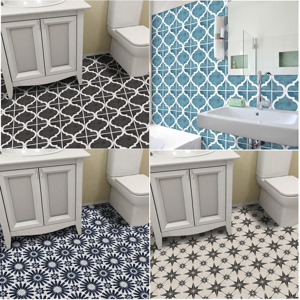Diy Bathroom Floor Sticker Anti Slip Wall Tile Stickers Wallpaper Home Decor Shopee Malaysia