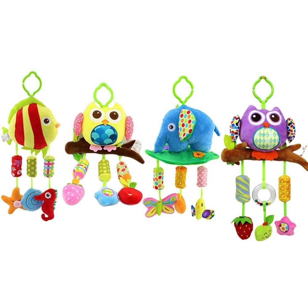 Baby Soft Rattle Toys Stroller Crib Hanging Bell Puppet Toys Animal Wind Chime Purple Owl (1)