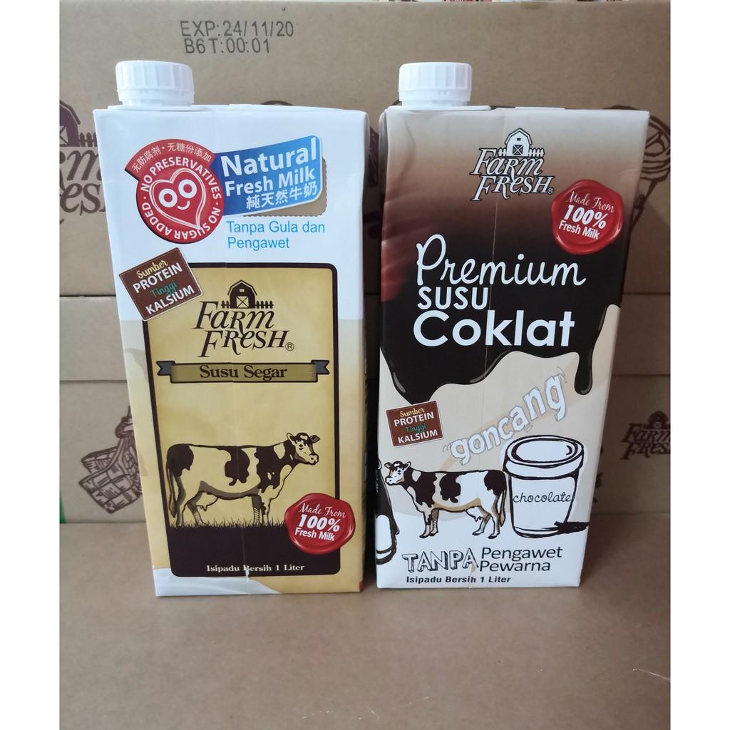 FARM FRESH SUSU UHT Fresh Milk / COKLAT 1 liter x 2 Combo Pack