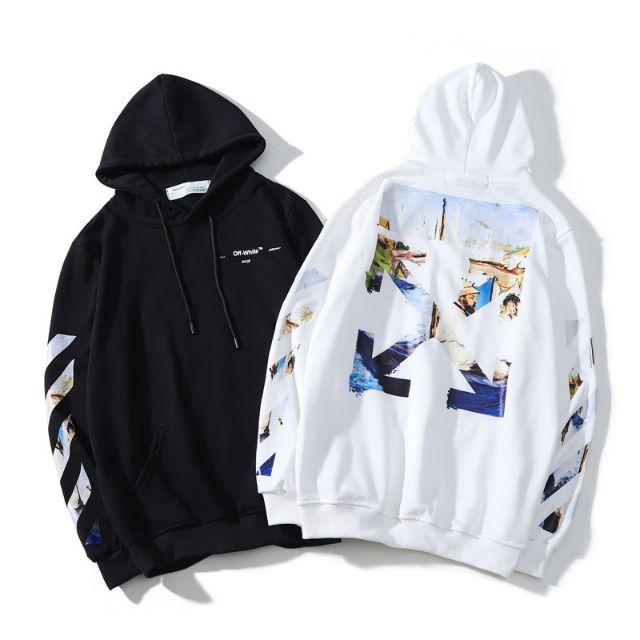 Tide brand men OFF WHITE Sweatshirt coat Unisex Loose casual hooded sweater