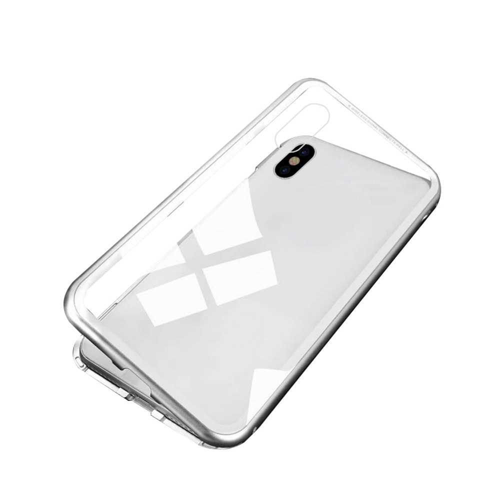 Magneto Magnetic Adsorption Case Clear Tempered Glass White Clear i-phone XS Max (White)