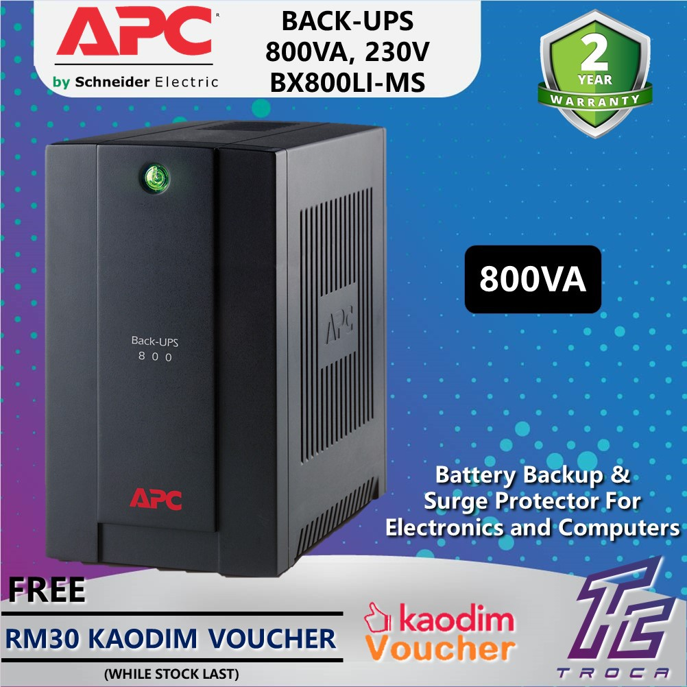 APC Back-Ups 800VA BX800LI-MS AVR Backup Battery & Surge Protector for Computers with Universal & IEC Sockets