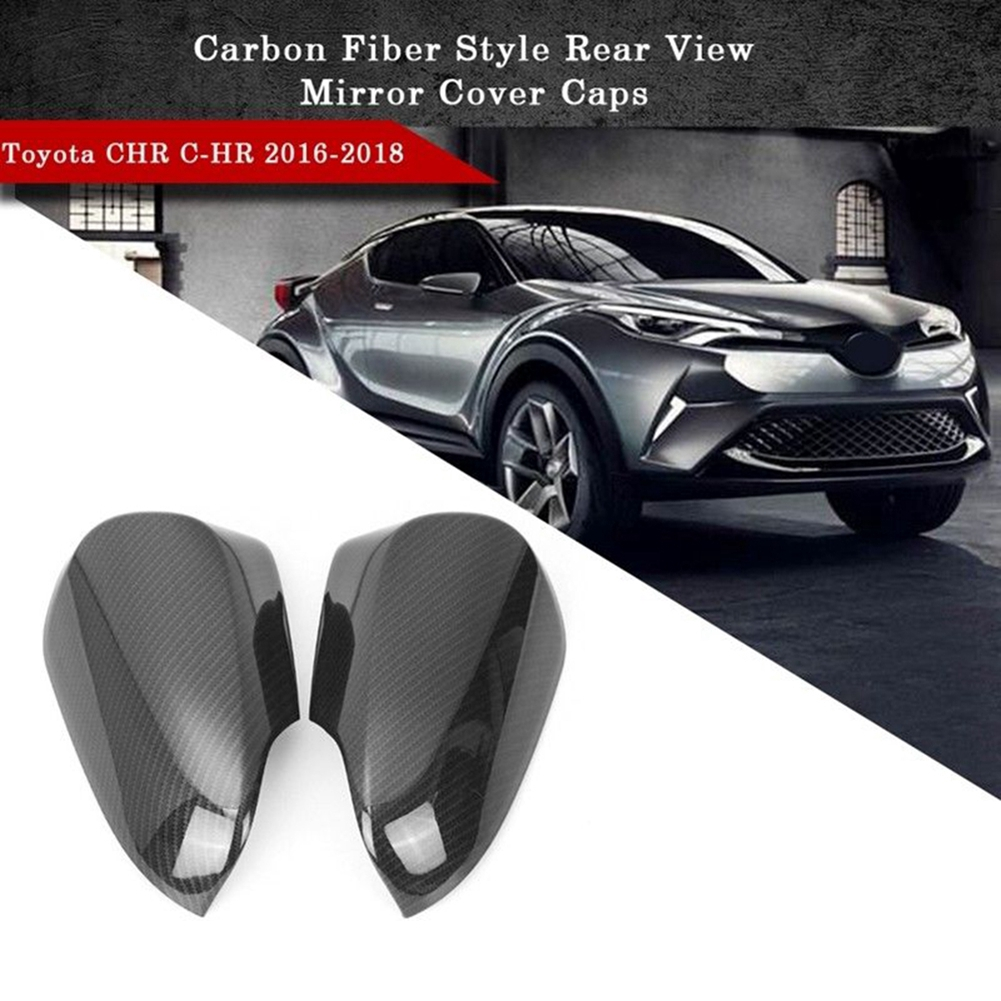 Carbon Fiber Style ABS Rear View Mirror Cover Caps 2PCS for Toyota CHR C-HR 2018