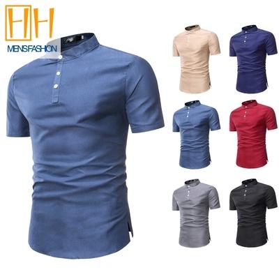 Baju Kurta Men's shirts 6 Colors Stand Collar Short Sleeve kemeja lelaki baju lelaki dewasa