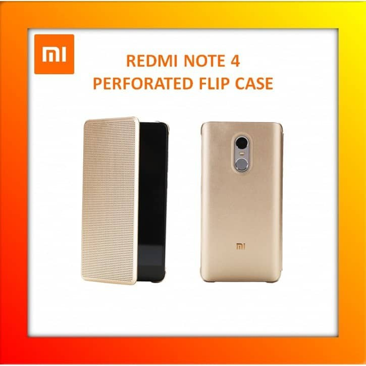 detailed look 8ff27 fb823 Xiaomi Mi Redmi Note 4 Perforated Flip Case Gold