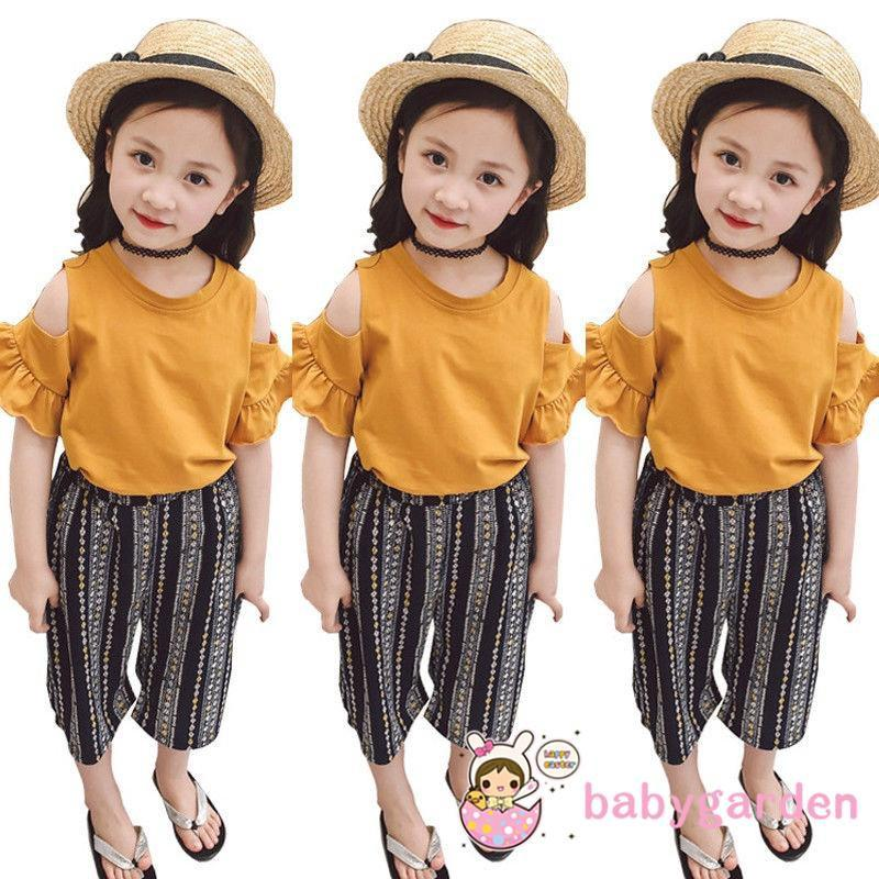 fe1c9590b2 YMY-AU Stock Kids Baby Girl Off Shoulder Tops Skirt+Striped Loose Pants 2Pcs