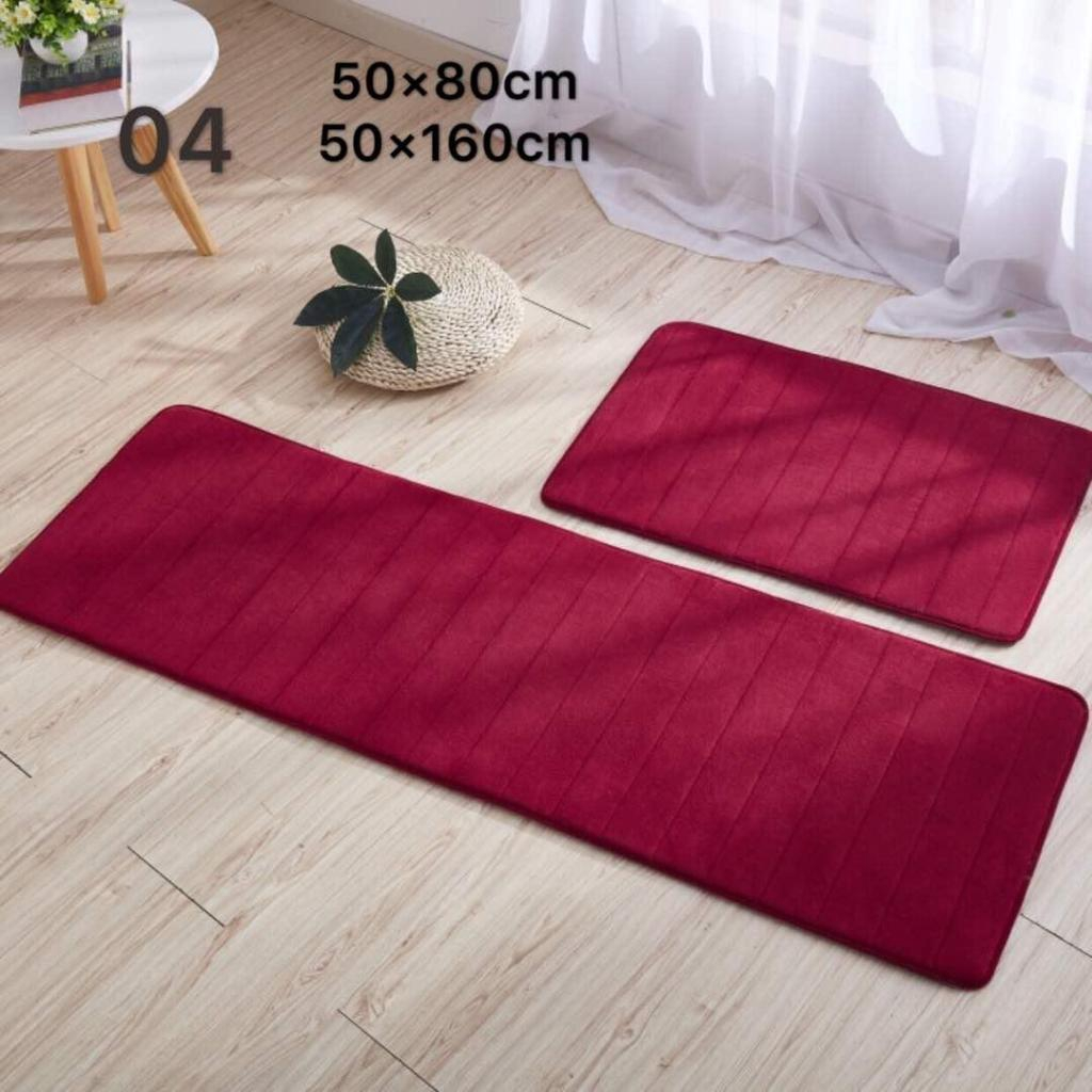 2 Pcs Large Kitchen Bathroom Rugs Carpet Floor Mat With Thick And Super Absorbent Surface