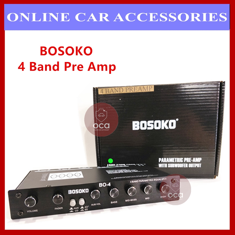 BOSOKO 4 Band Car Audio Pre Amp/ Preamp Parametric Equalizer with Subwoofer Output