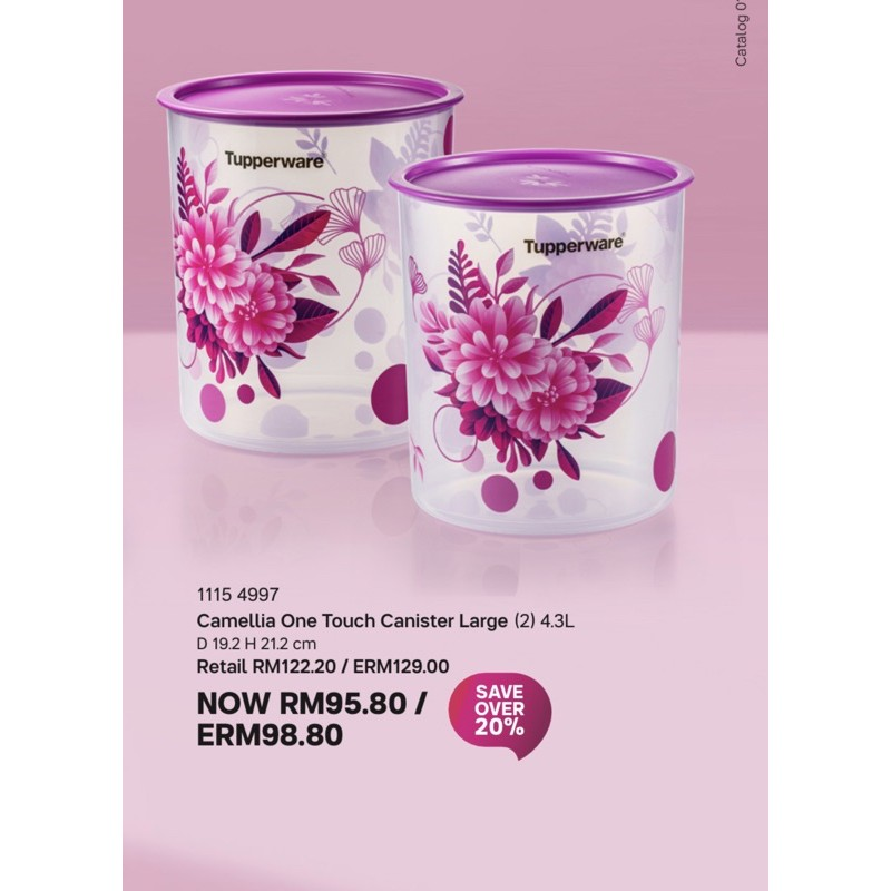 Tupperware Camellia One Touch Canister Large 4.3L 2pcs