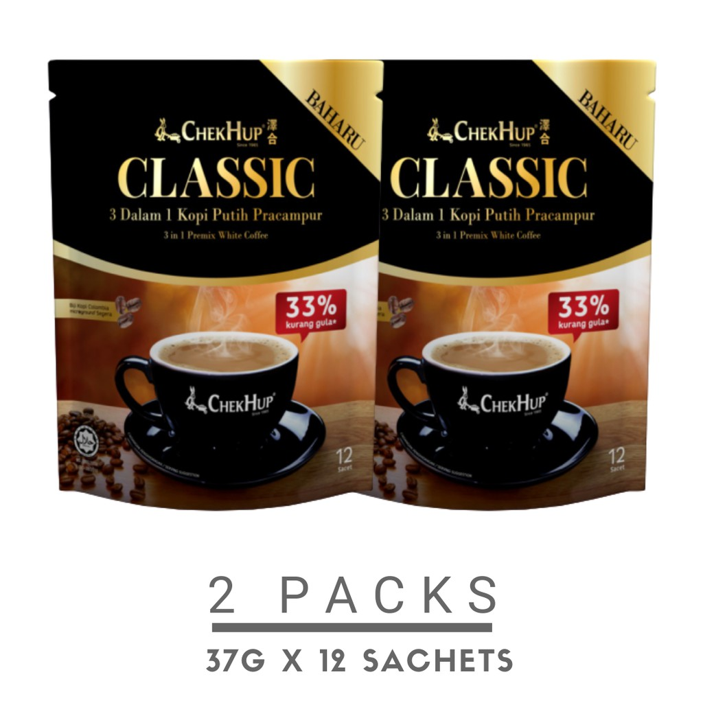 Chek Hup 3 in 1 Classic White Coffee (37g x 12\'s) [Bundle of 2 Pkts]