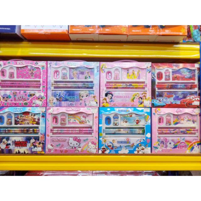 Kartun 7 In 1 Pencil Set Kids Birthday Gift Stationery Bag carton.