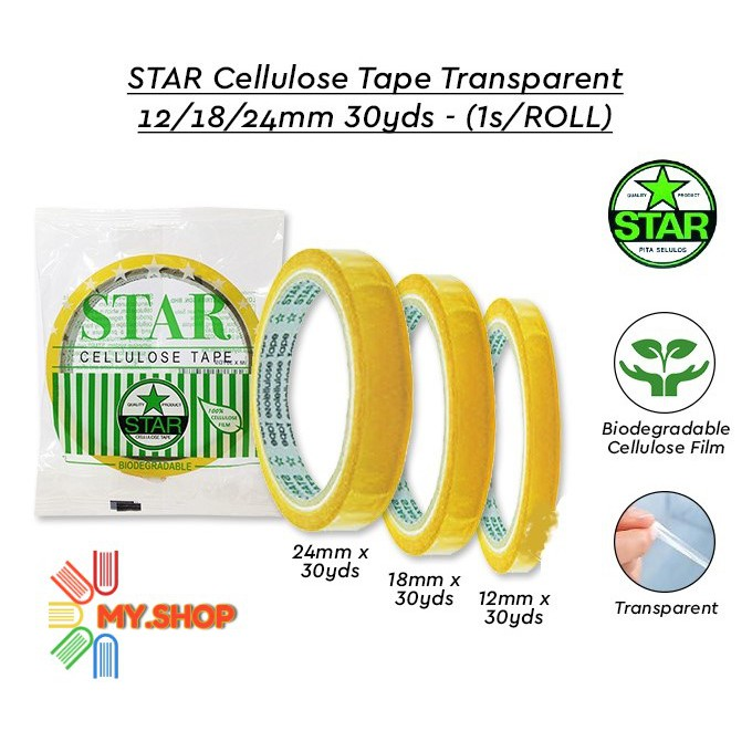 STAR CELLULOSE TAPE 12MM/18MM/24MM X 30YDS price per roll