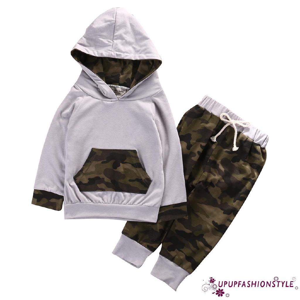 d0c1f35d07549 ✽UP✽2PCS Kids Baby Toddler Boys Camouflage Clothes T-shirt Tops ...
