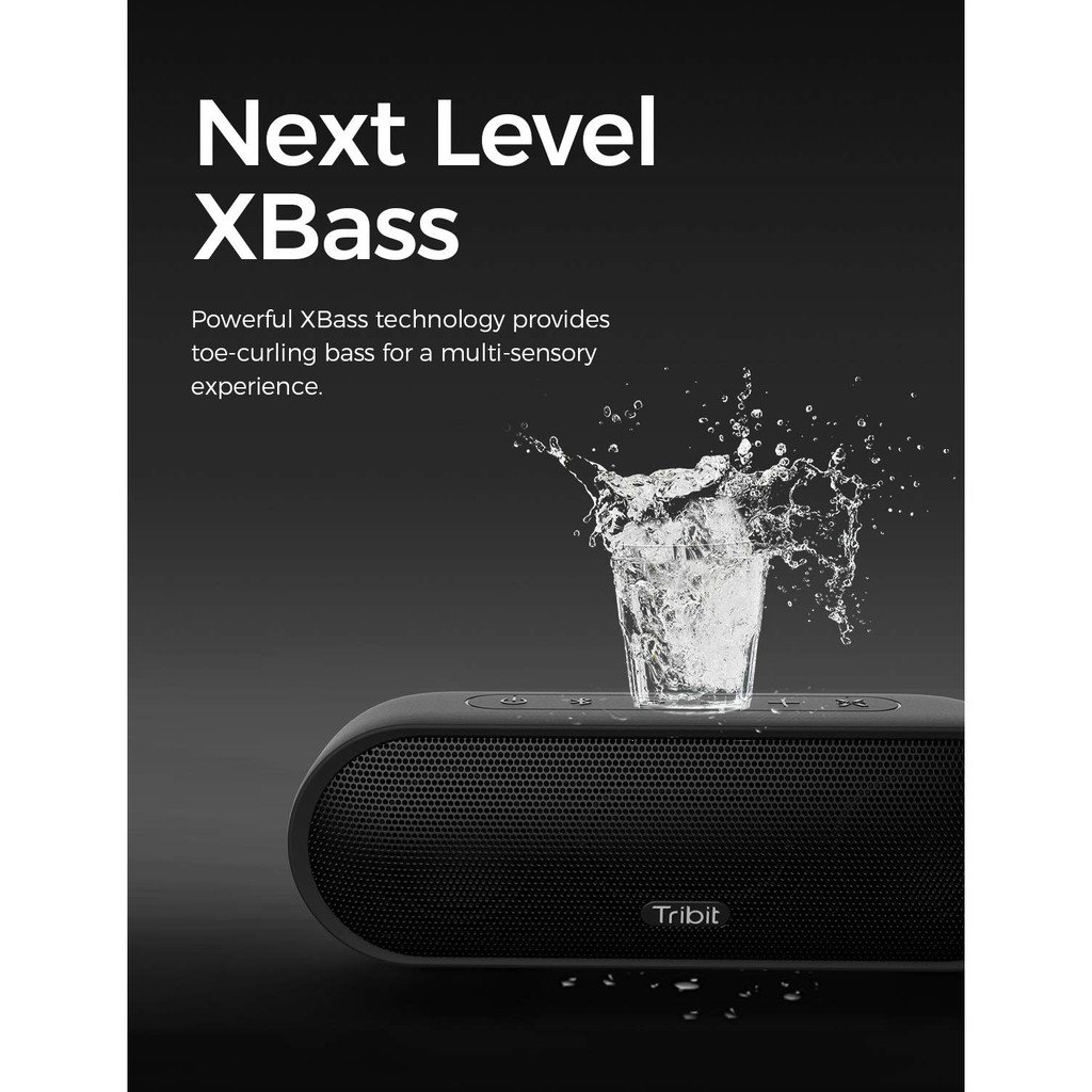 Tribit Maxsound Plus Bluetooth Speaker - Bass Enhanced, 20 Hours Playtime, IPX7 Waterproof, 24W Output