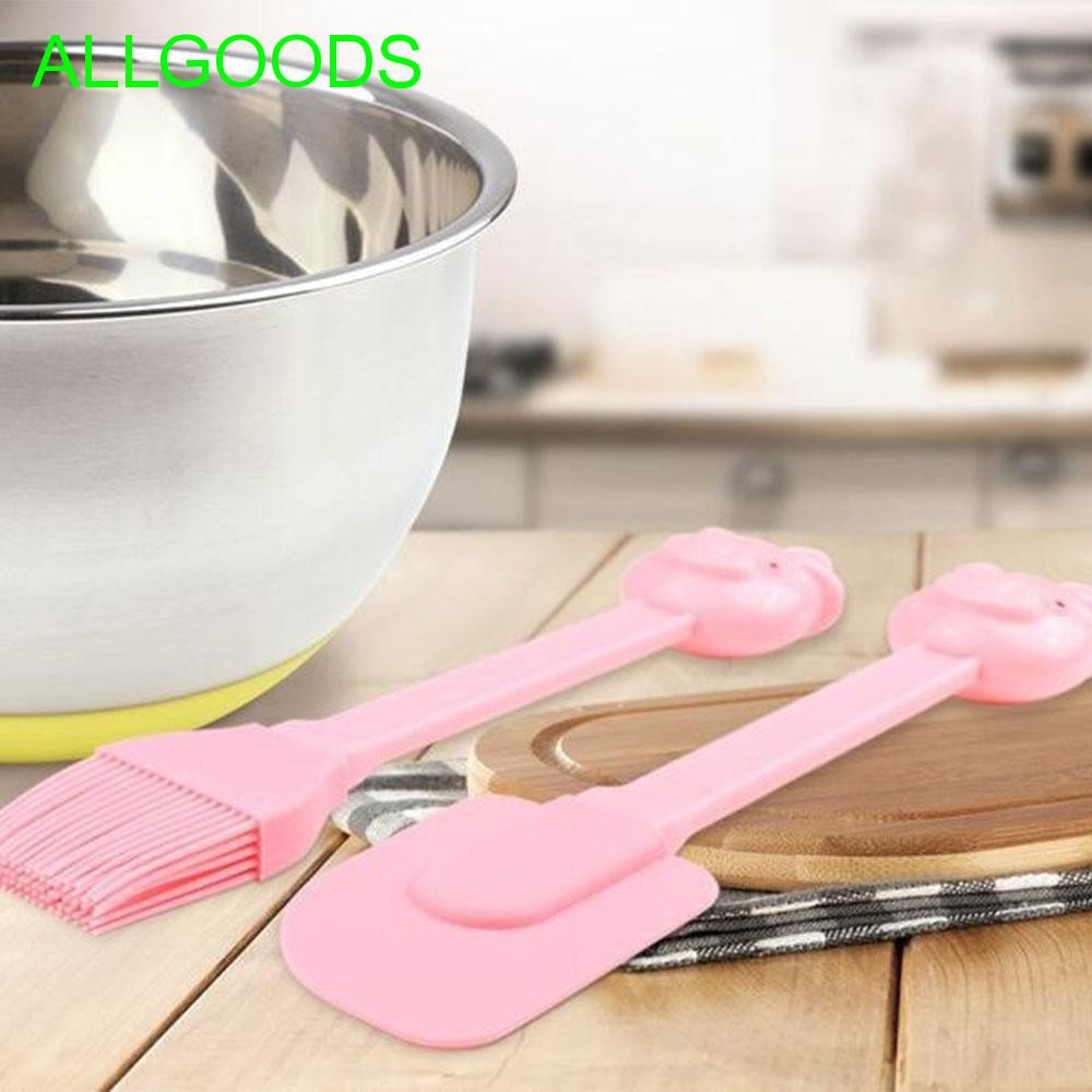 NEW Pig Shaped Bowl Scraper Silicone Spatula Cooking Baking Tool Pink