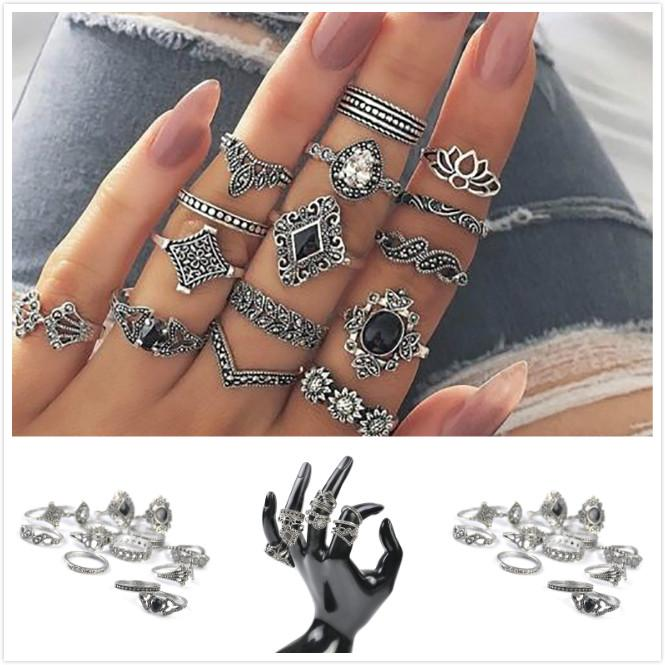 15 Pcs/set Midi Hollow Finger Ring Set Vintage Punk Boho Knuckle Rings Jewelry