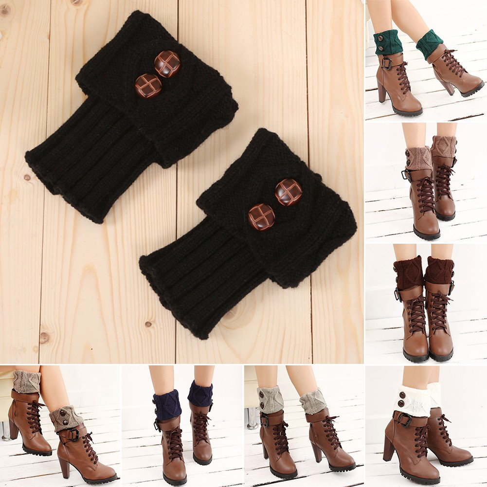Women/'s Winter Knitted Shell Boot Cuff Leg Warmers