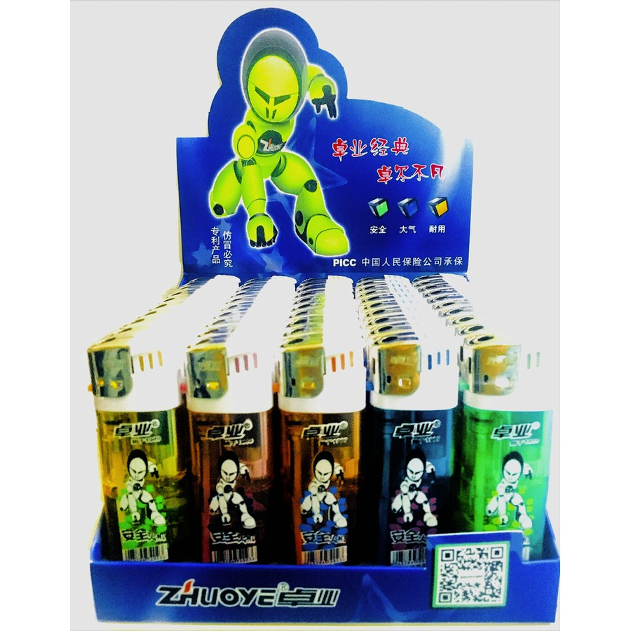 ZHUO YE Lighter Electronic Colorful Transparent Design Disposable Gas Lighter 50pcs