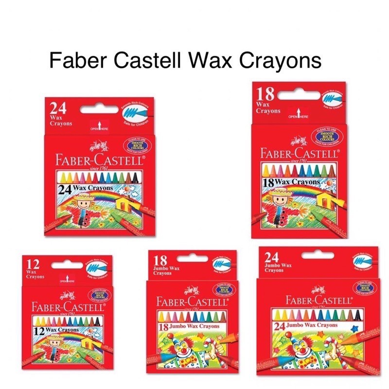【READY STOCK】 Faber Castell Wax Crayon Non Toxic (Normal/ Jumbo size)