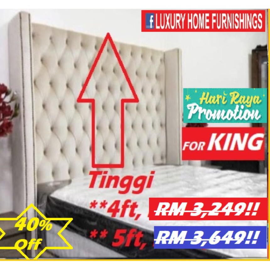 VICTORIA, DESIGNER SERIES, KING SIZE DIVAN SET, HEAD BOARD 5ft HEIGHT!! WATER REPELLENT FABRIC!! RM 3,649!! SAVE 40%!!