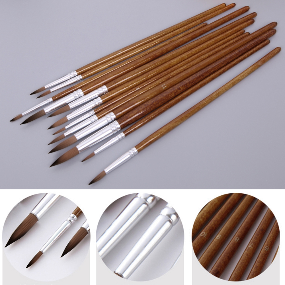 12pcs/lot Different Size Acrylic Watercolor Round Pointed Tip Artists Paint Brush Set Nylon Hair For