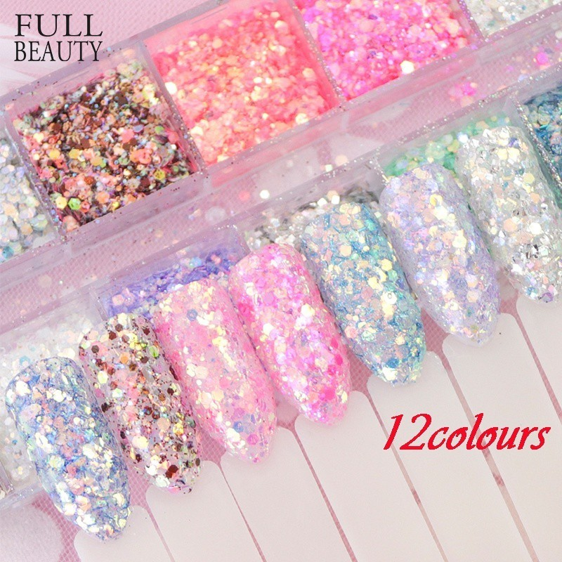 ff1023836d 12 Color Mixed Hexagon Nail Dust Set Holo Glitter Mermaid Sequin Flakes  Manicure