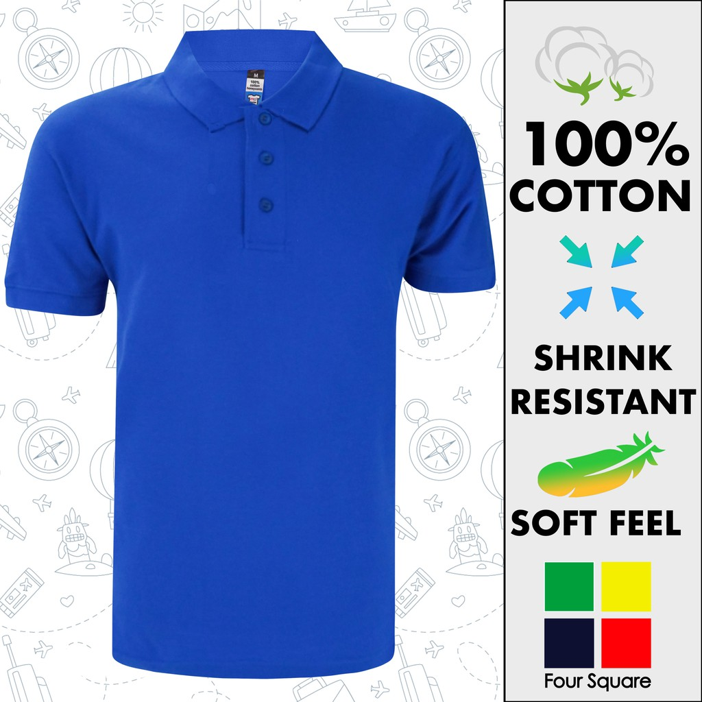 Perseguitare rovesciare rappresentazione  Men Plain Basic Premium Cotton Honeycomb Polo Royal Blue | Shopee Malaysia