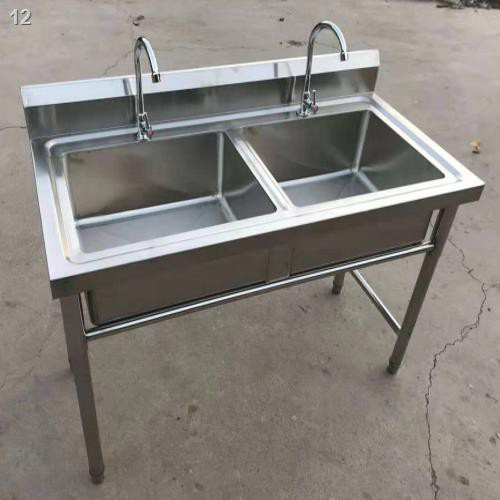 Commercial Stainless Steel Sink Double Groove Three Pools Xiancai Basins Disinfection Custom Kitchen Restaurant With S Shopee Malaysia