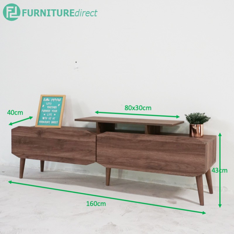 Furniture Direct Tv cabinet with tray MAJA 5 and 6 feet 2 drawers / solid wood legs/ ikea design