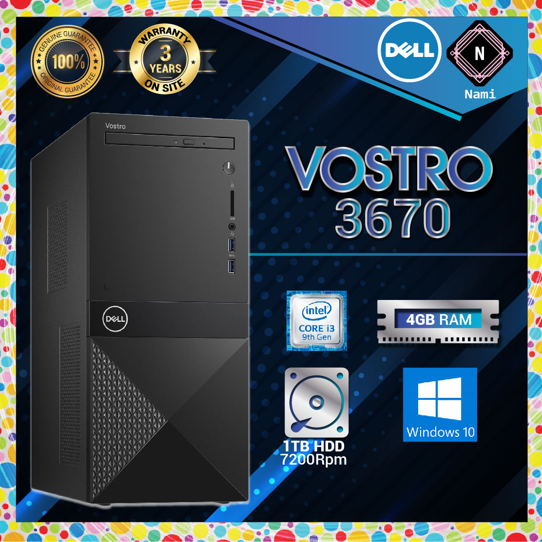 Dell Vostro 3670 MT Tower Business Desktop (i3-9100 4.20Ghz,1TB,4GB,W10H)