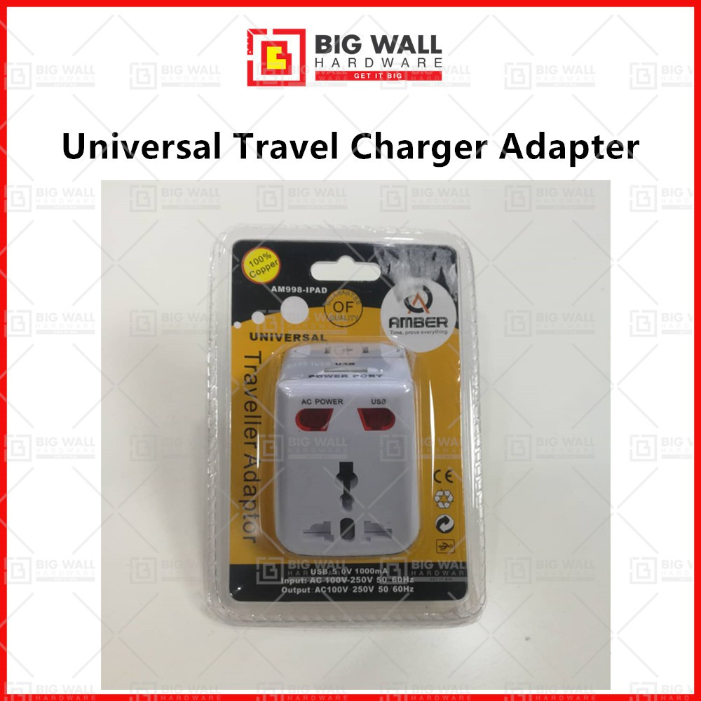 Amber Universal Travel Charger Adapter AM998-IPAD 100% Copper Multifunctional Socket Big Wall Hardware