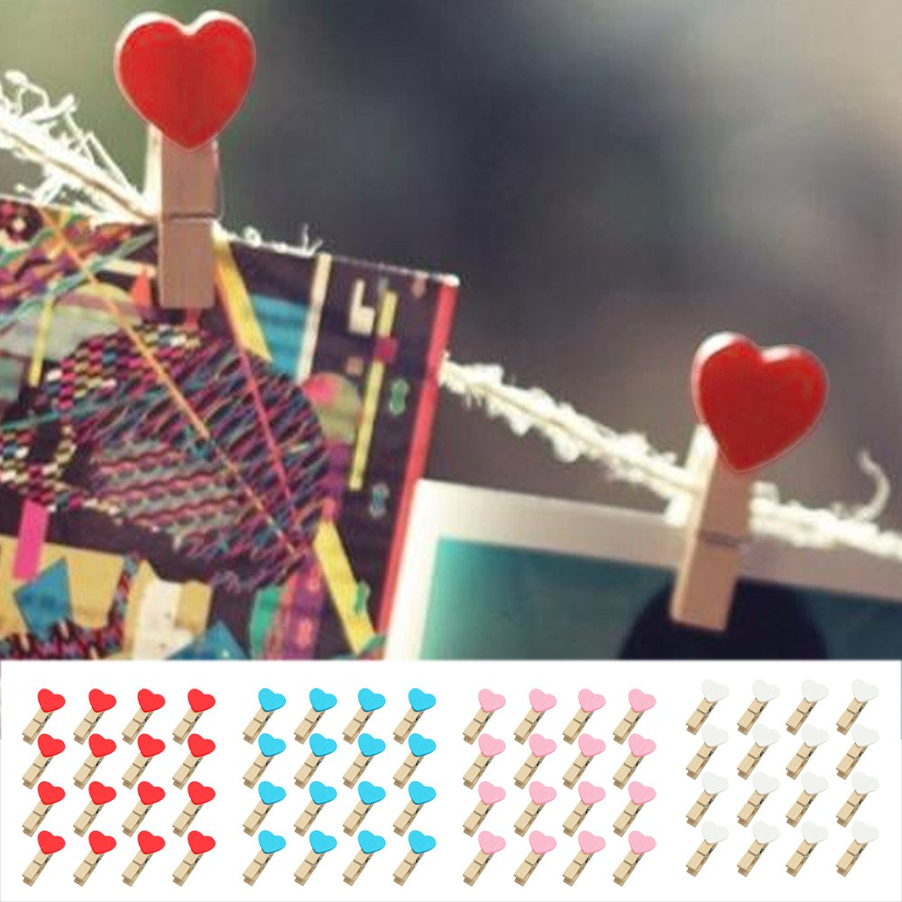 Lovely 24pcs Wooden Paper Clips Heart Love Clothespins For Hanging Gift Craft Project And To Have A Long Life. Home & Garden