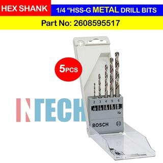 Bosch Drill Bit Set HSS-G Hex Shank 5pc Set Size 2mm 3mm 4mm 5mm 6mm 2608595517