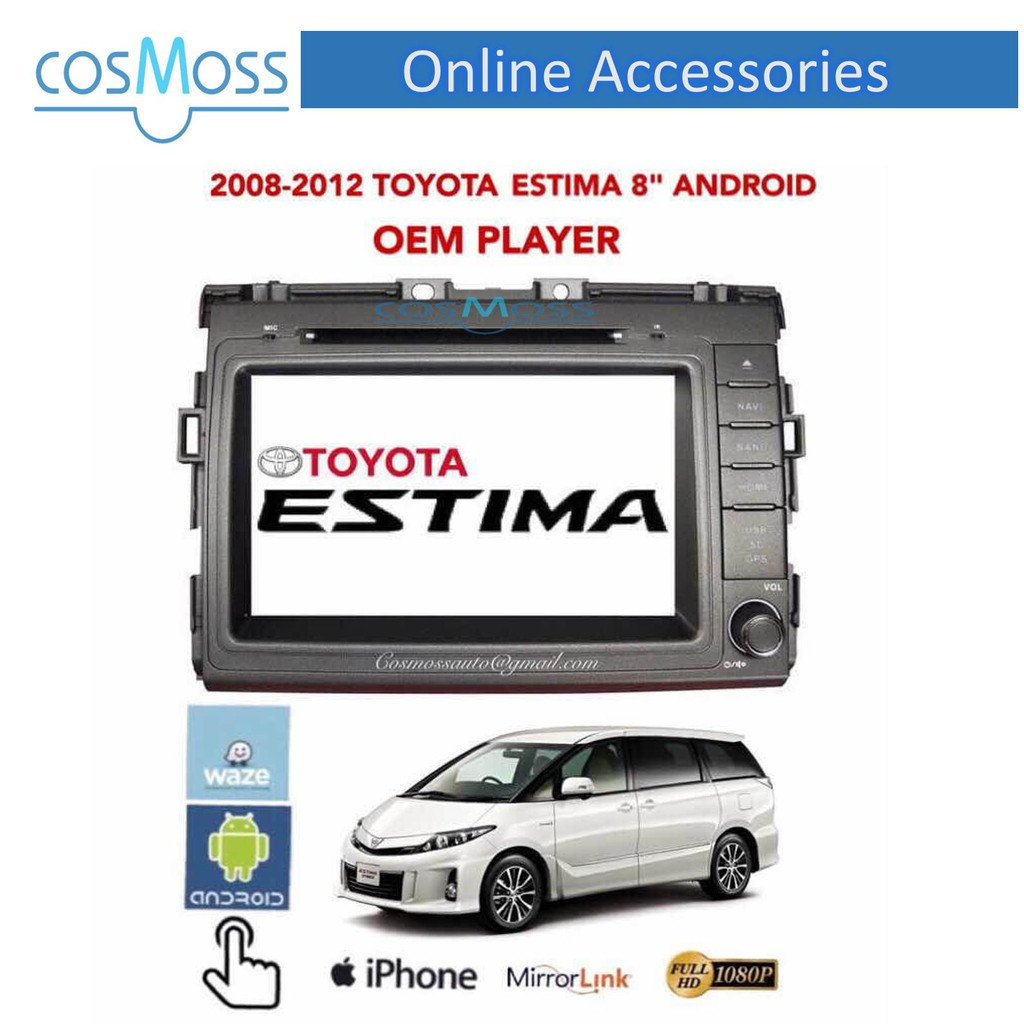 TOYOTA ESTIMA 2008 - 2015 8'' ANDROID OEM WIFI DVD GPS PLAYER