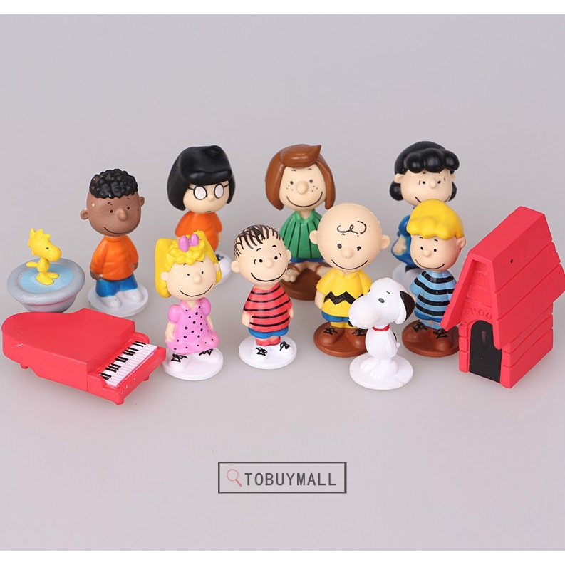 Peanuts Snoopy Charlie Brown Lucy Franklin Figure Figurine Toy 12pcs