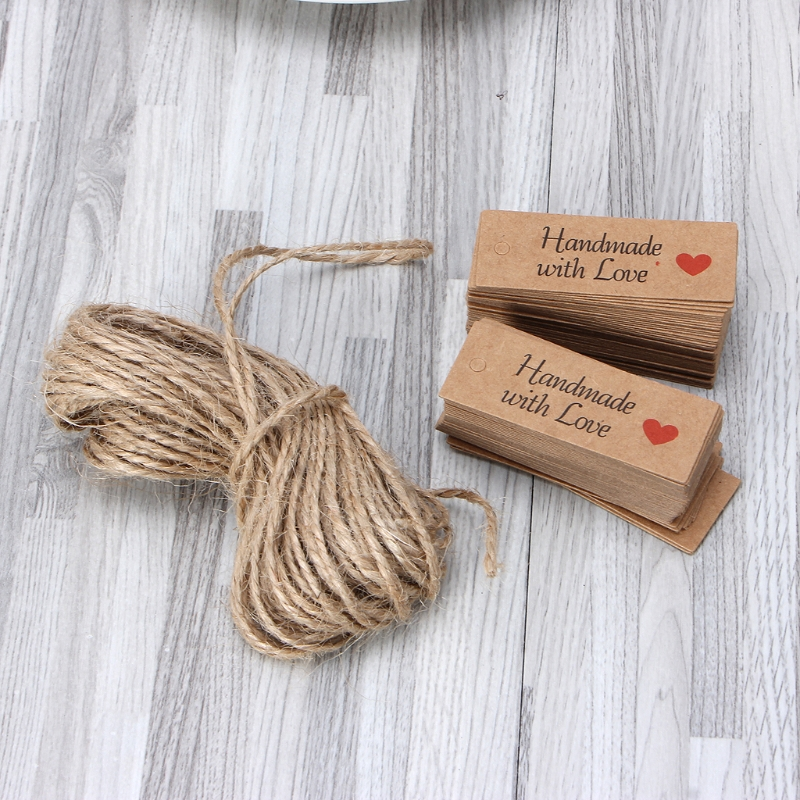 100PCS Retro Kraft Paper Gift Cards Handmade Price Tags for Wedding Birthday