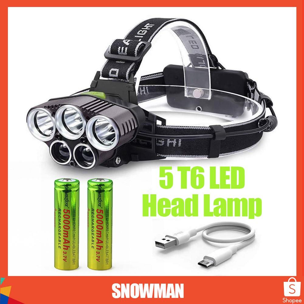 50000LM 5-Head XM-L T6 LED 18650 Micro USB Headlamp Headlight Battery Sets