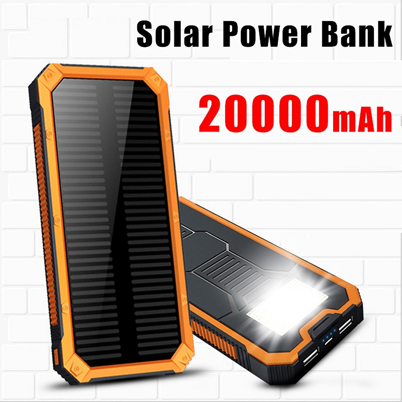 20000mah solar power bank mobile phones cable led light. Black Bedroom Furniture Sets. Home Design Ideas