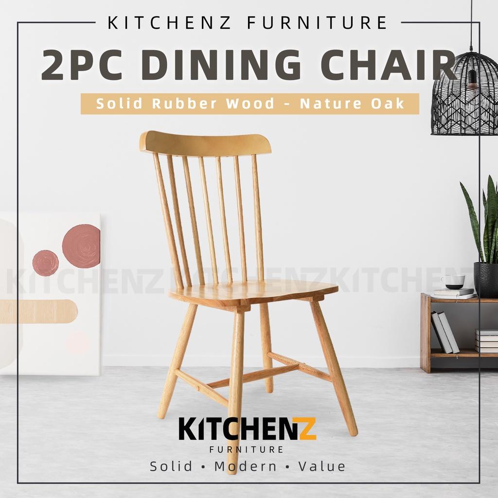 KitchenZ 2PCS Pusan Ton Chair / Nordic Solid Wood Dining Chair / Nature Oak - HMZ-FN-DC-TONCHAIR-NO