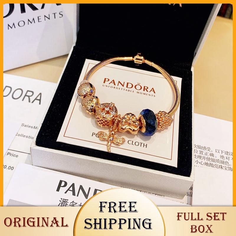 Pandora S925 Silver Bracelet Original Pandora Dragonfly 925 Silver Bracelet Gold Bangles Female Women Lady Charm Chain Gift With Box Authentic Shopee Malaysia