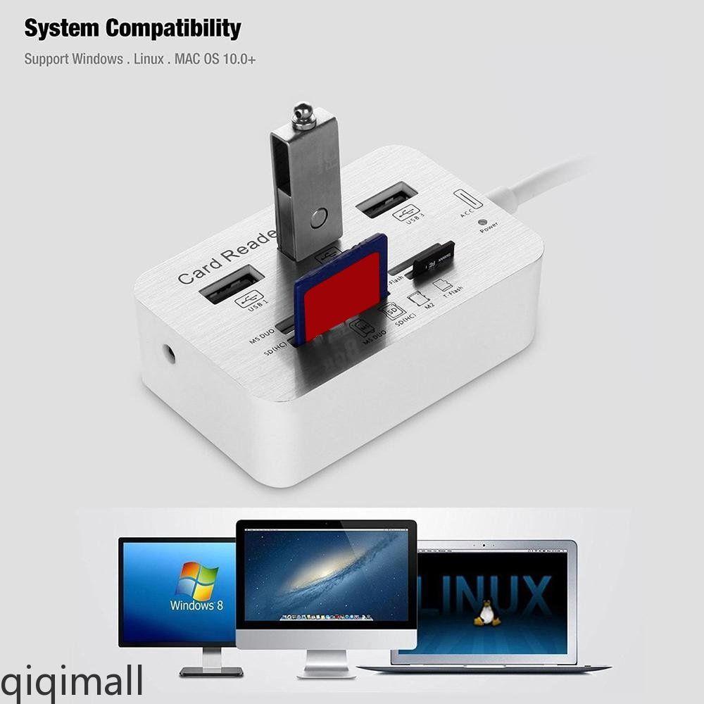 TF Multi-In-1 Reader Adapter 3 Port Aluminum HDMI Converter USB 3.0 Hub USB-C