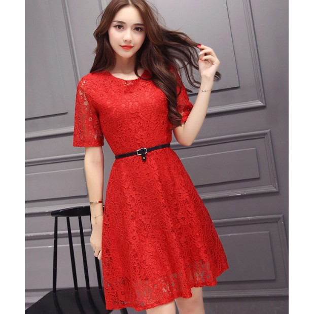 Women Korean Style Skirt Evening Dresses Dinner New Lace Party Dress With Belt