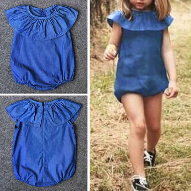 1cbf60e2f739f Lotus-leaf Sleeveless Jumpsuits Pure Blue Baby Girl's Romper Crawling  Clothing