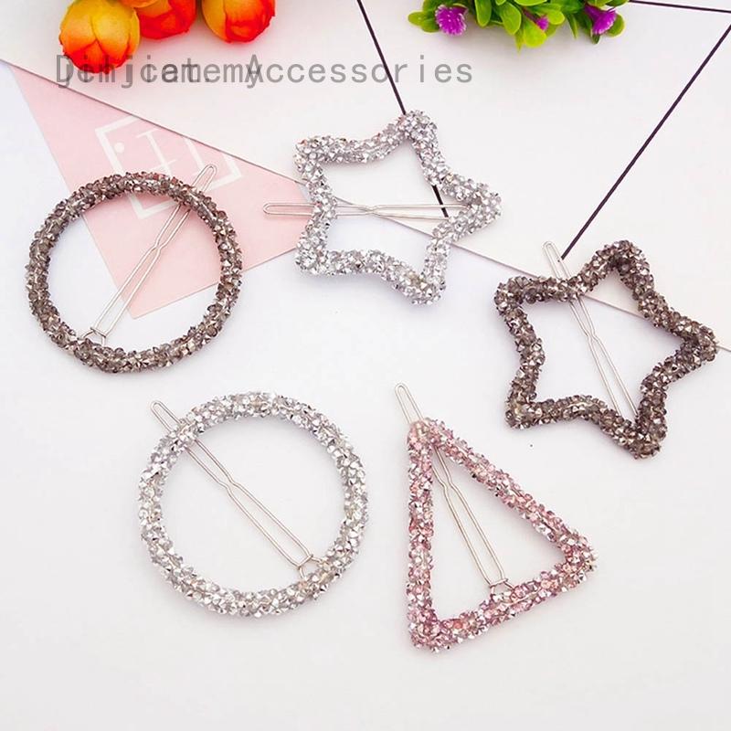 Minimalist Dainty Cat Star Triangle Metal Hair Clip Hairpin Bobby Pin Headwear Headdress Jewelry 3 Piece