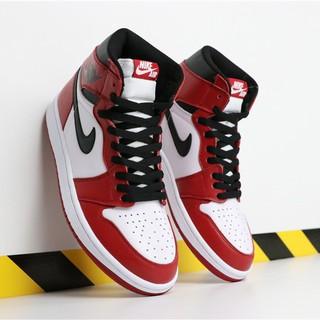 wholesale dealer 8f9c0 92459 NIKE Air Jordan 1 Bred Toe AJ1 Joe 1 Black Red Toe Men's Sho ...