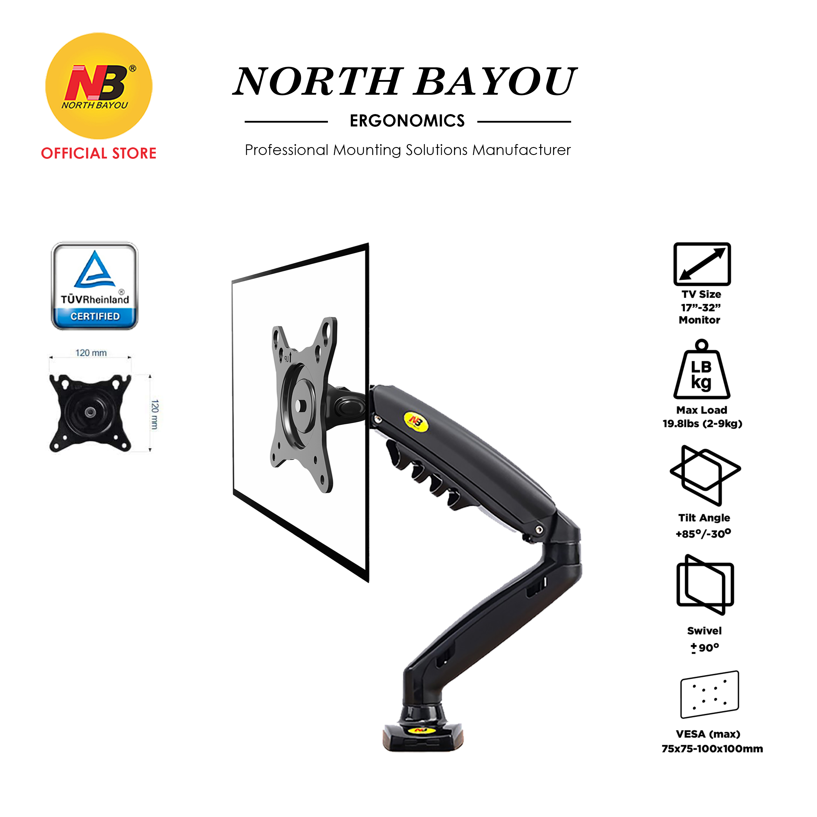 NB North Bayou F80 Monitor Desk Mount Stand Full Motion Swivel Monitor Arm with Gas Spring for 17-30''Monitor