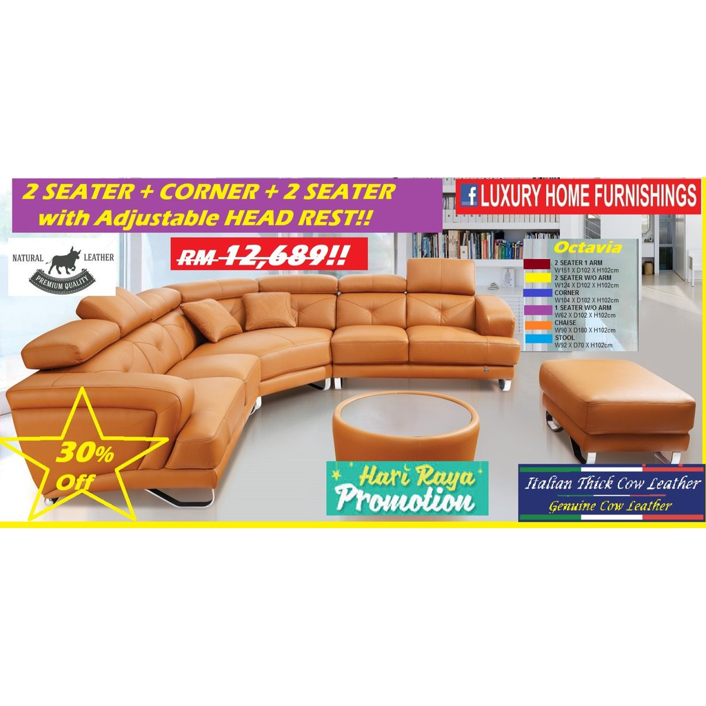 Octavia, 2 + corner + 2 with H/R, Seater  Genuine Thick Italian Cow Leather, H/L, Sofa SET, RM 12,689!! ENJOY 30% Off!!